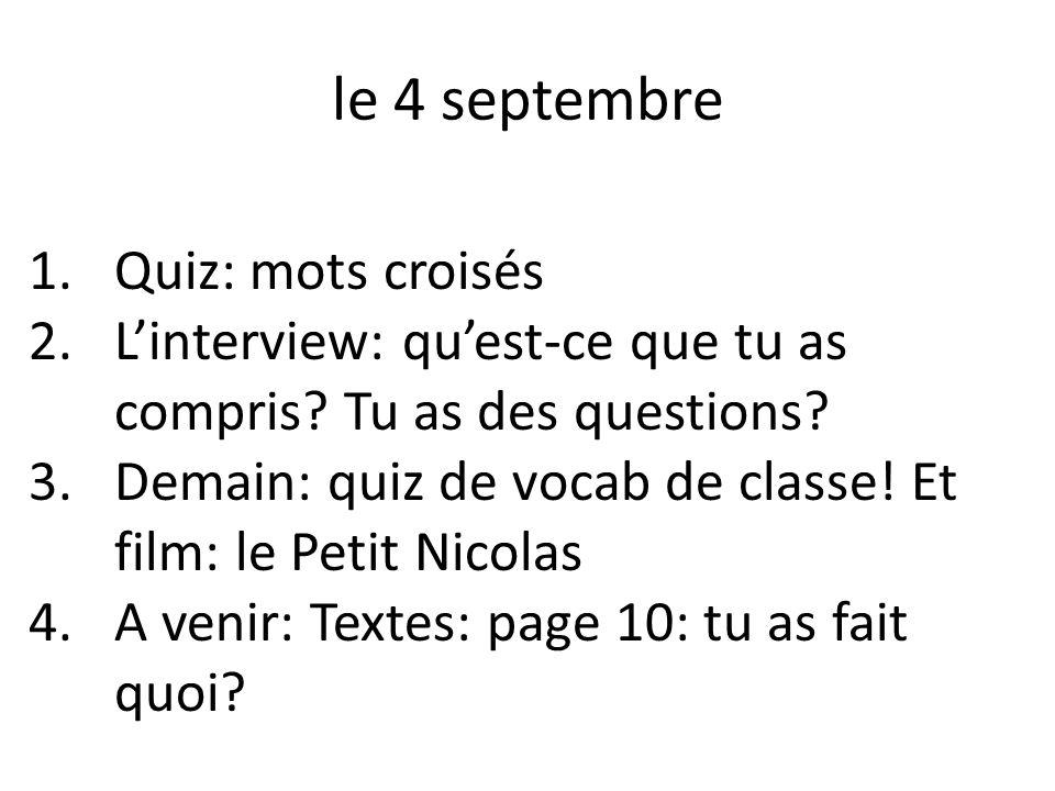 le 4 septembre Quiz: mots croisés