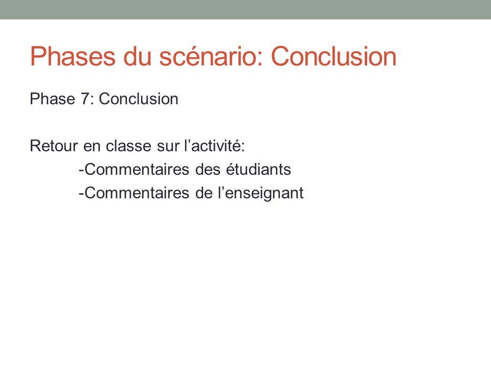 Phases du scénario: Conclusion