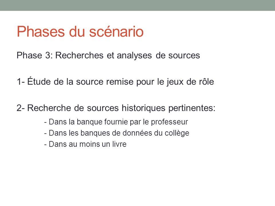 Phases du scénario Phase 3: Recherches et analyses de sources