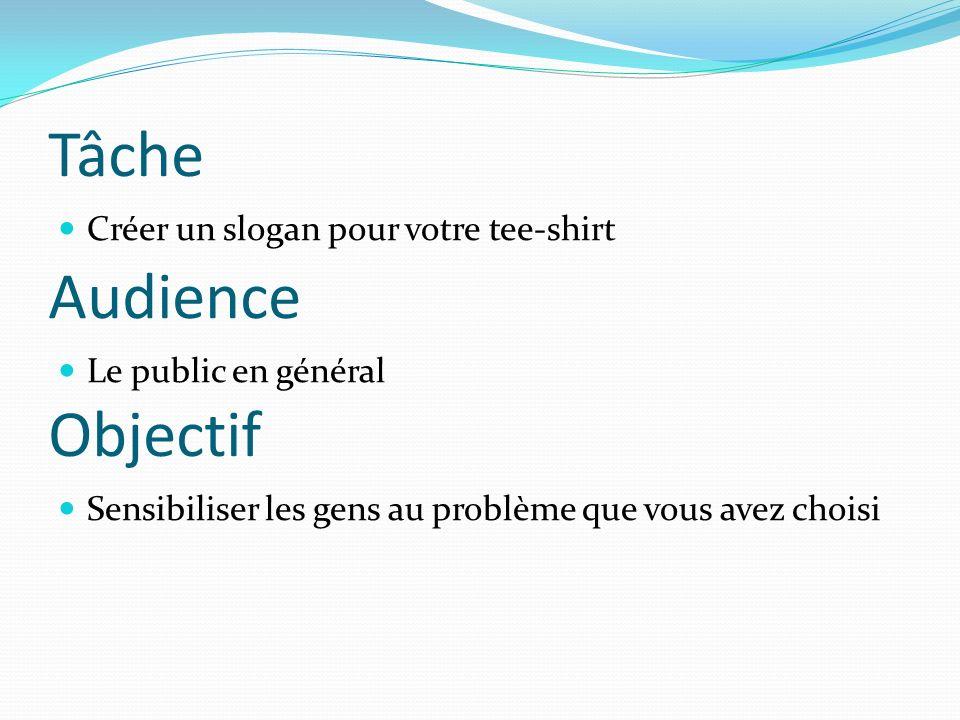 Tâche Audience Objectif Créer un slogan pour votre tee-shirt
