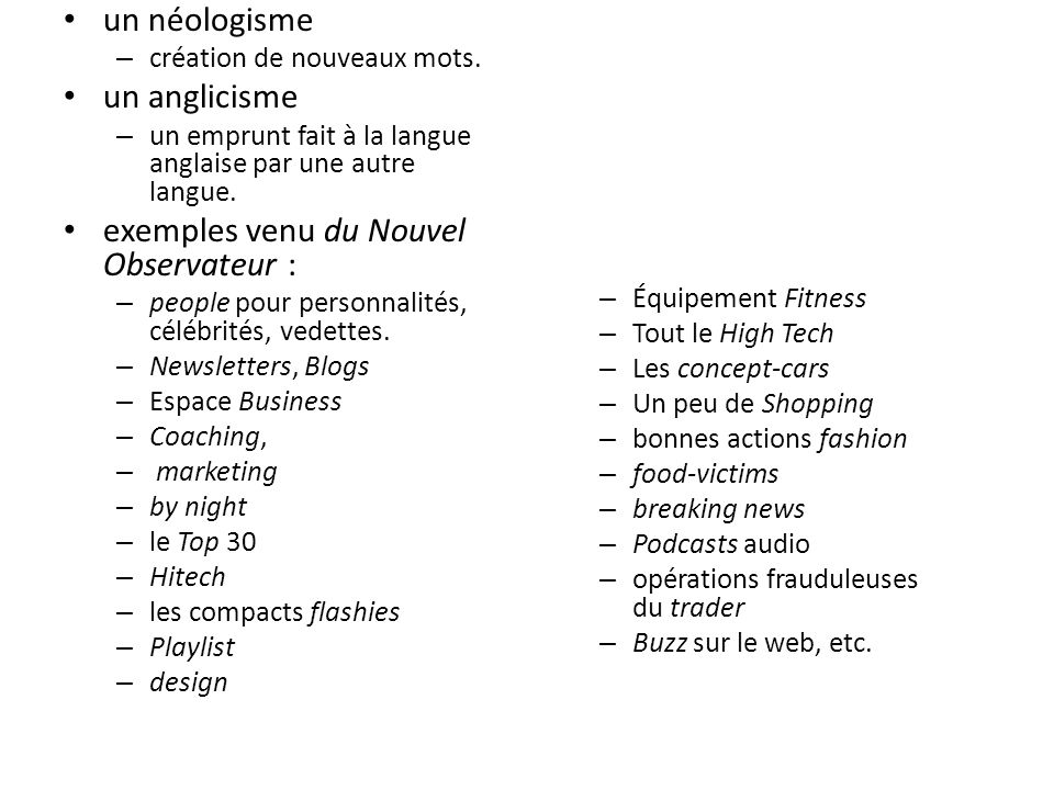 exemples venu du Nouvel Observateur :