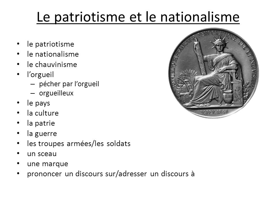 Le patriotisme et le nationalisme