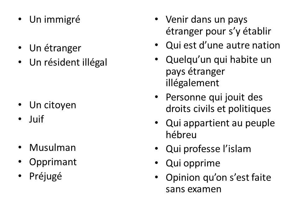 Un immigré Un étranger. Un résident illégal. Un citoyen. Juif. Musulman. Opprimant. Préjugé. Venir dans un pays étranger pour s'y établir.
