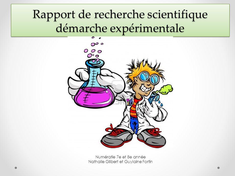 Rapport de recherche scientifique démarche expérimentale