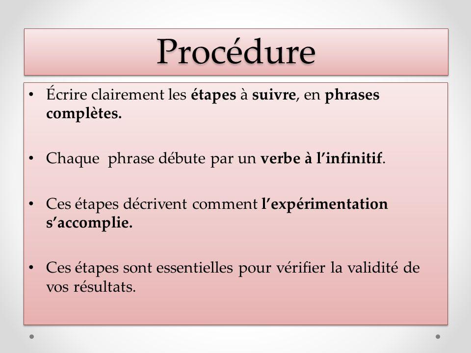 Procédure Écrire clairement les étapes à suivre, en phrases complètes.