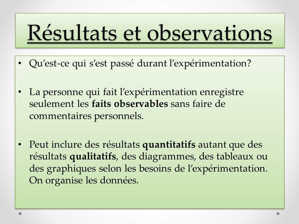 Résultats et observations