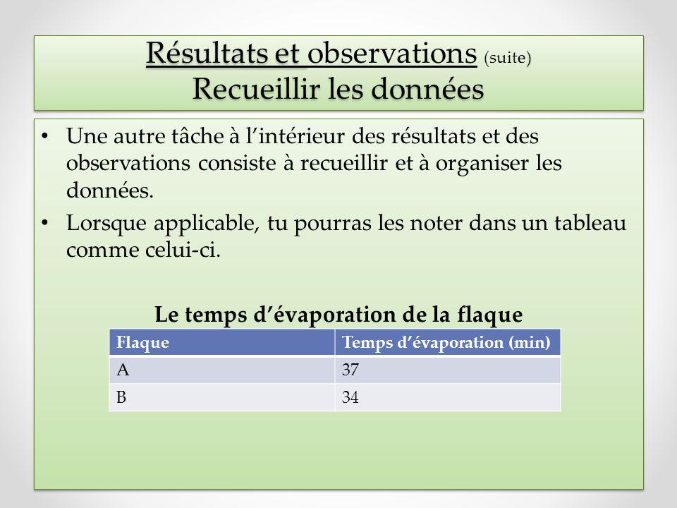 Résultats et observations (suite) Recueillir les données