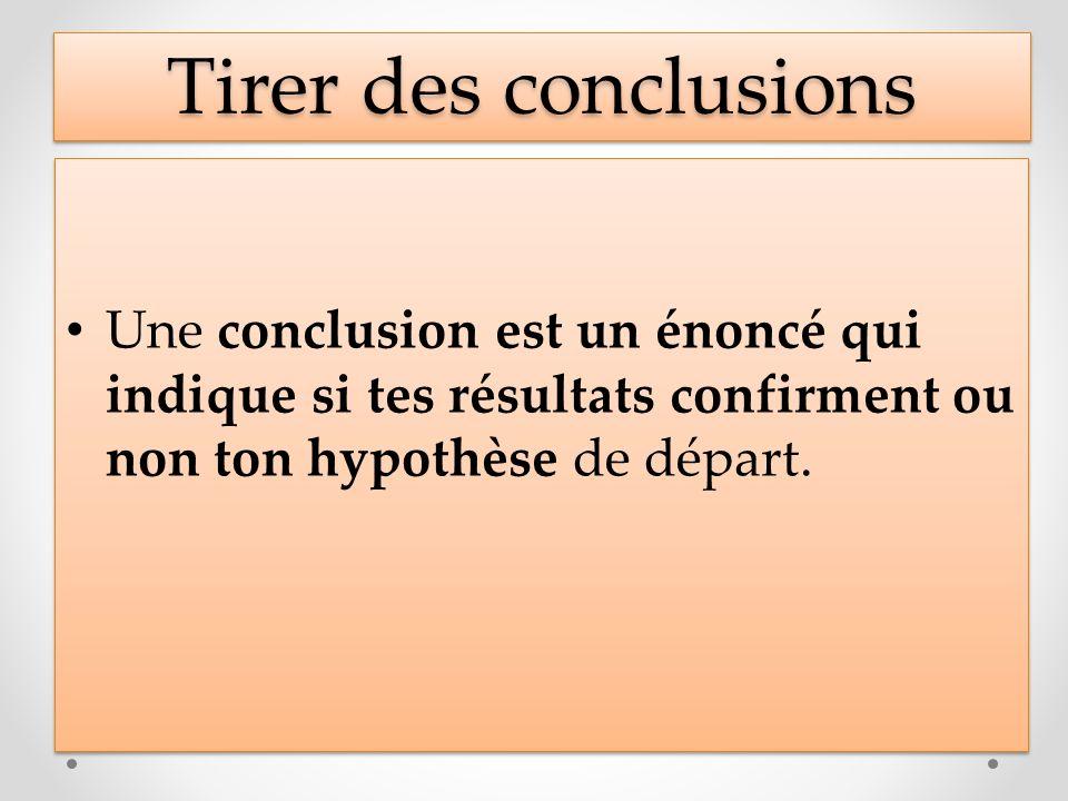 Tirer des conclusions Une conclusion est un énoncé qui indique si tes résultats confirment ou non ton hypothèse de départ.