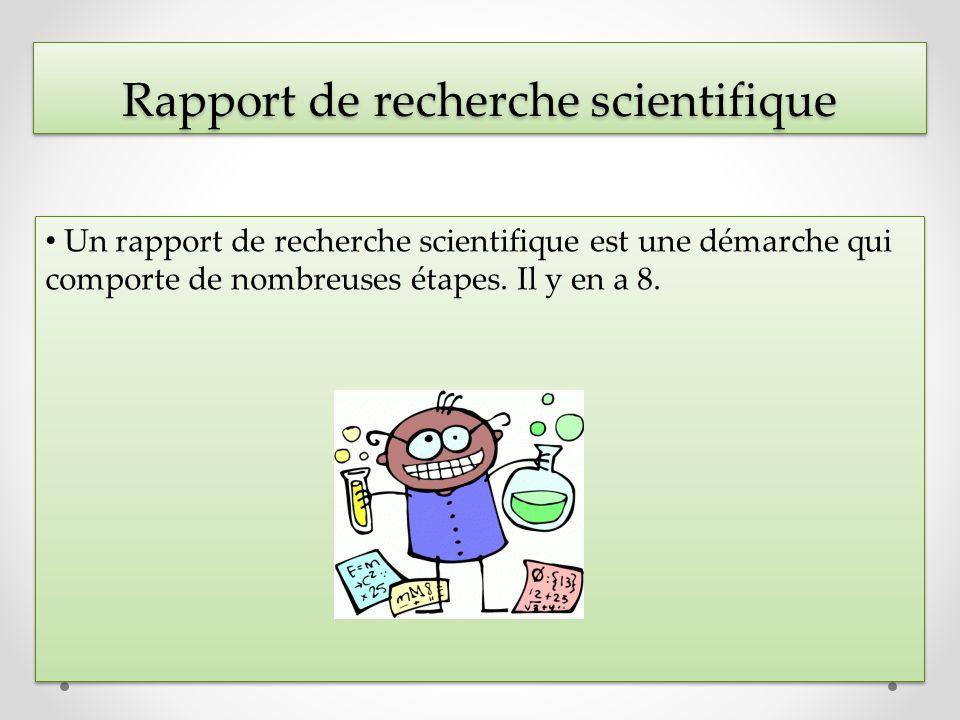 Rapport de recherche scientifique