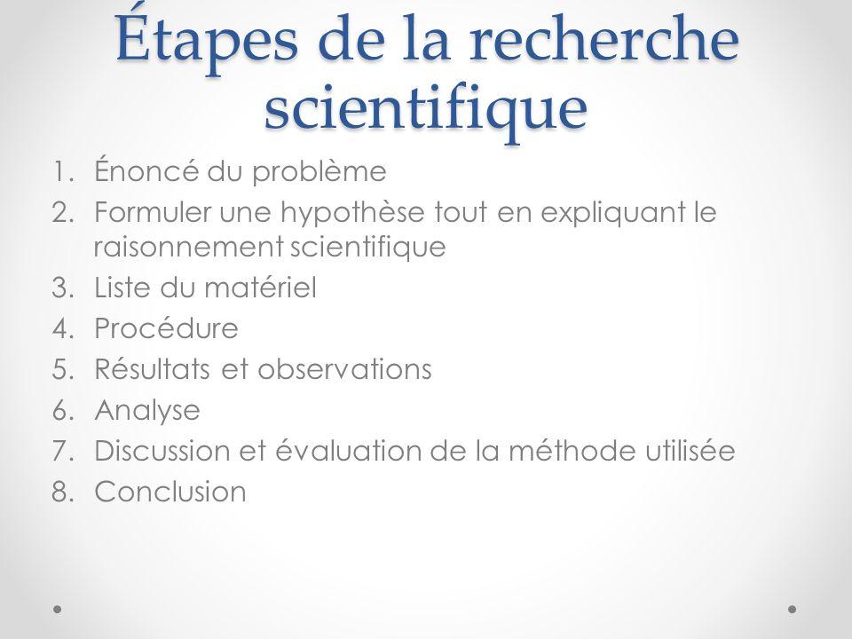 Étapes de la recherche scientifique