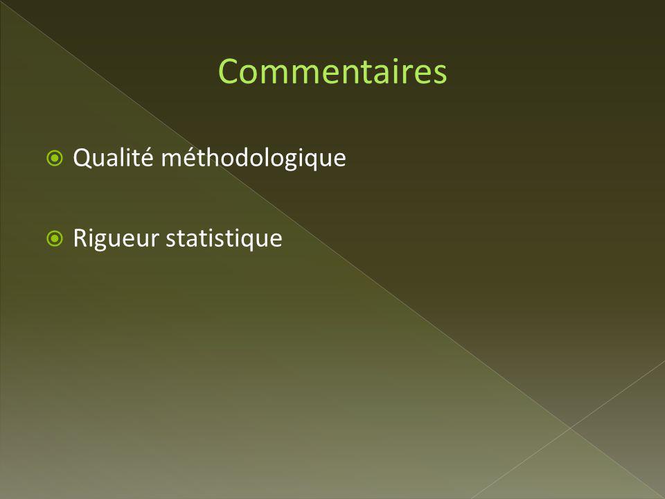 Commentaires Qualité méthodologique Rigueur statistique