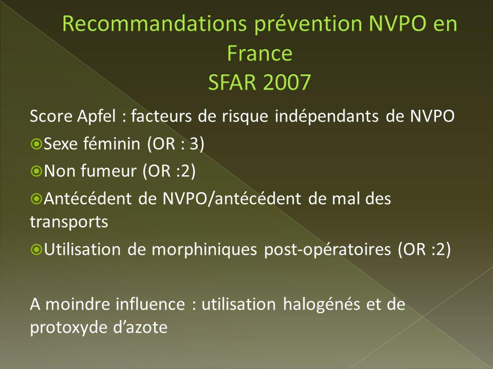 Recommandations prévention NVPO en France SFAR 2007