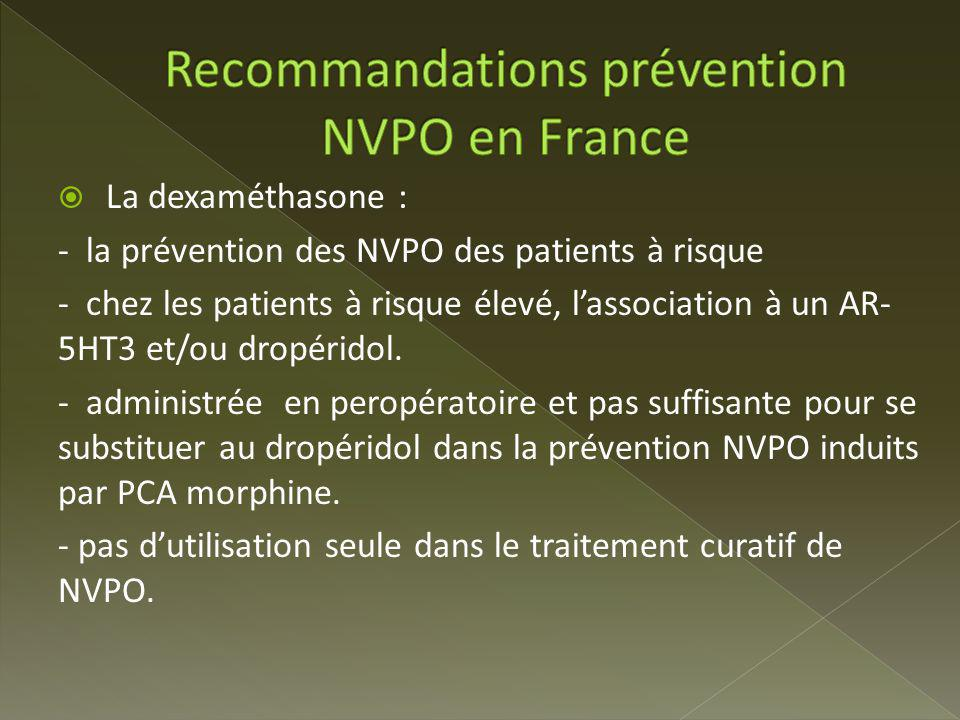 Recommandations prévention NVPO en France
