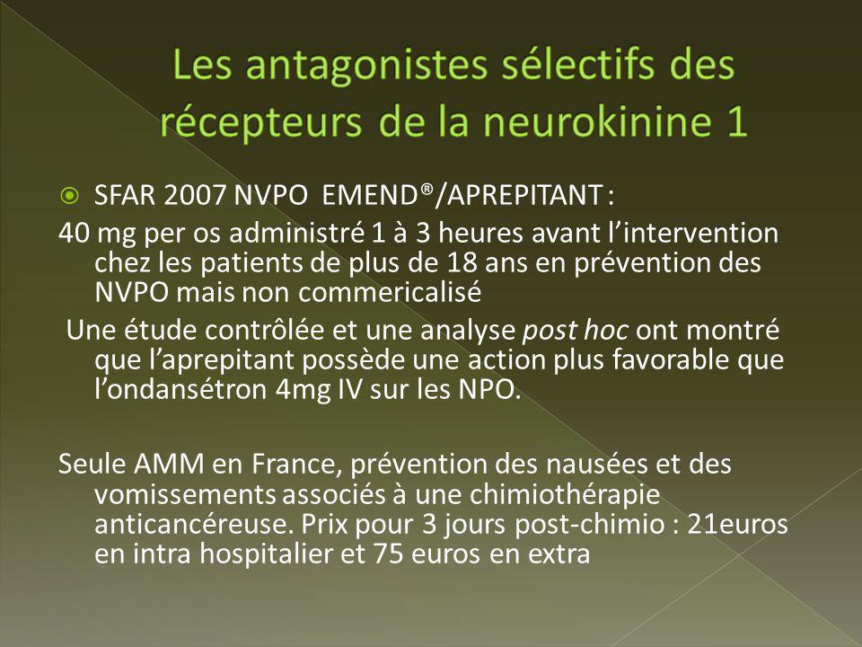 Les antagonistes sélectifs des récepteurs de la neurokinine 1