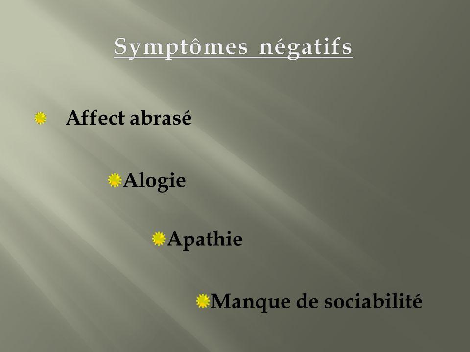 Symptômes négatifs Affect abrasé Alogie Apathie Manque de sociabilité