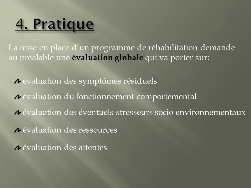 4. Pratique La mise en place d'un programme de réhabilitation demande au préalable une évaluation globale qui va porter sur: