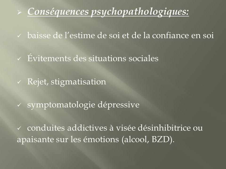 Conséquences psychopathologiques: