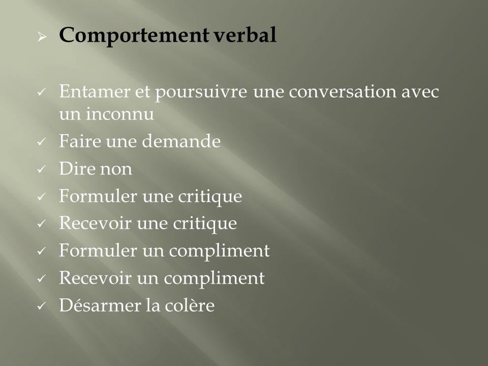 Comportement verbal Entamer et poursuivre une conversation avec un inconnu. Faire une demande. Dire non.