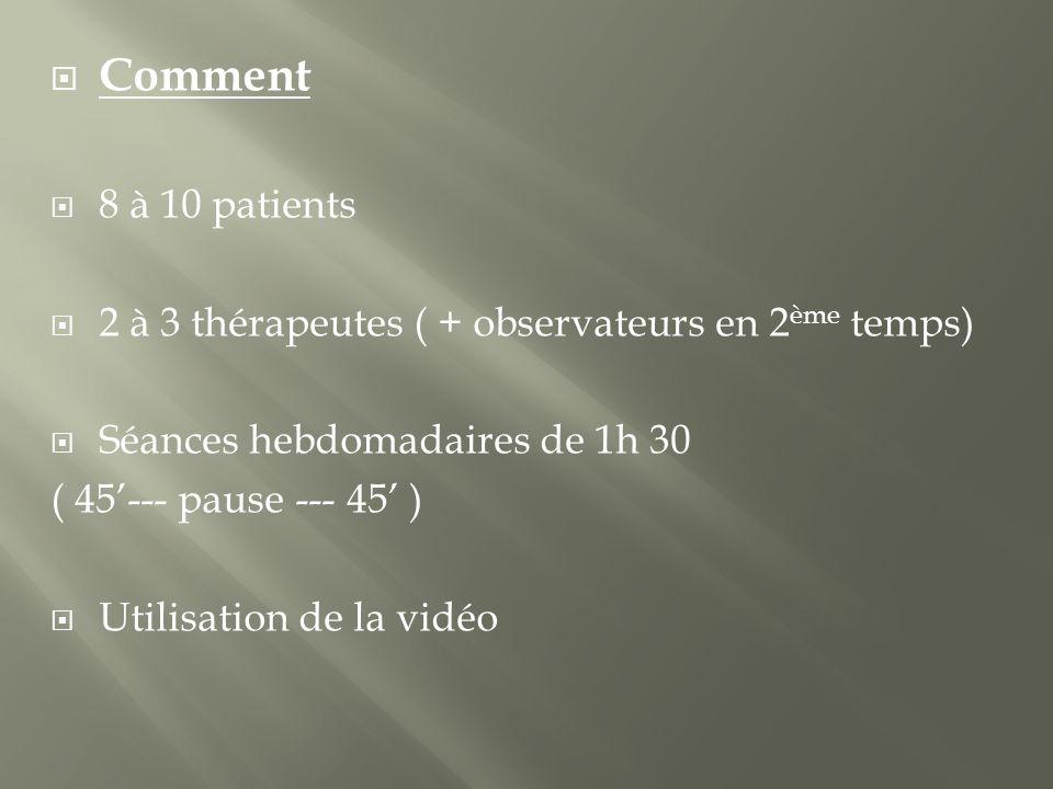 Comment 8 à 10 patients. 2 à 3 thérapeutes ( + observateurs en 2ème temps) Séances hebdomadaires de 1h 30.