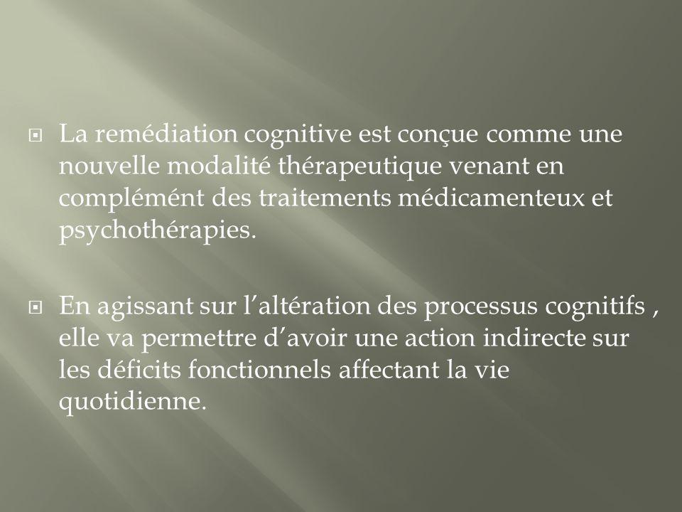 La remédiation cognitive est conçue comme une nouvelle modalité thérapeutique venant en complémént des traitements médicamenteux et psychothérapies.