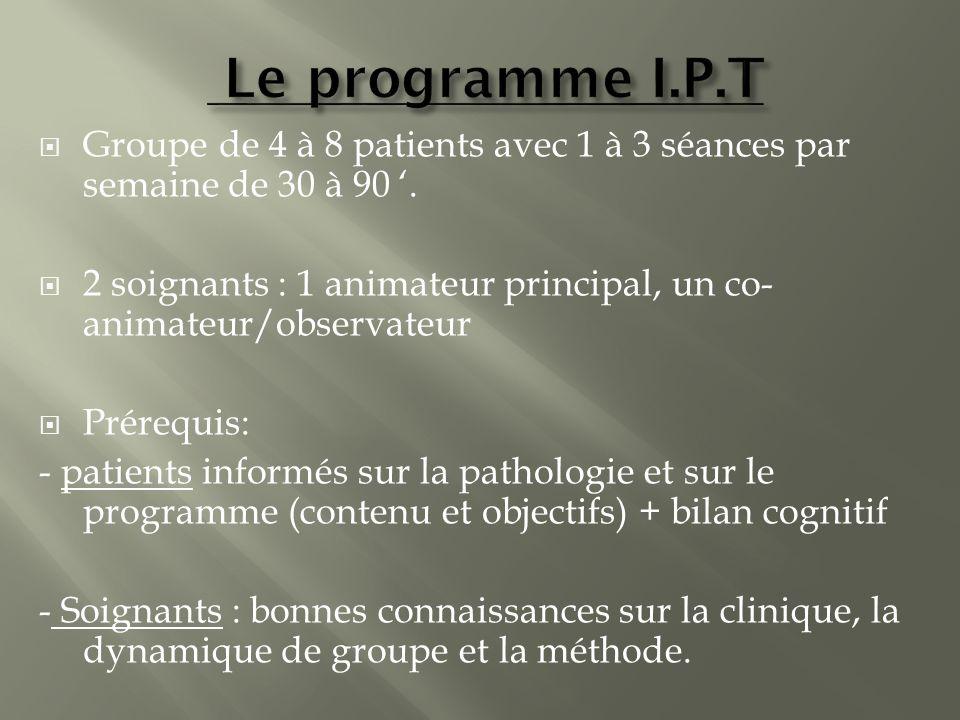 Le programme I.P.T Groupe de 4 à 8 patients avec 1 à 3 séances par semaine de 30 à 90 '.