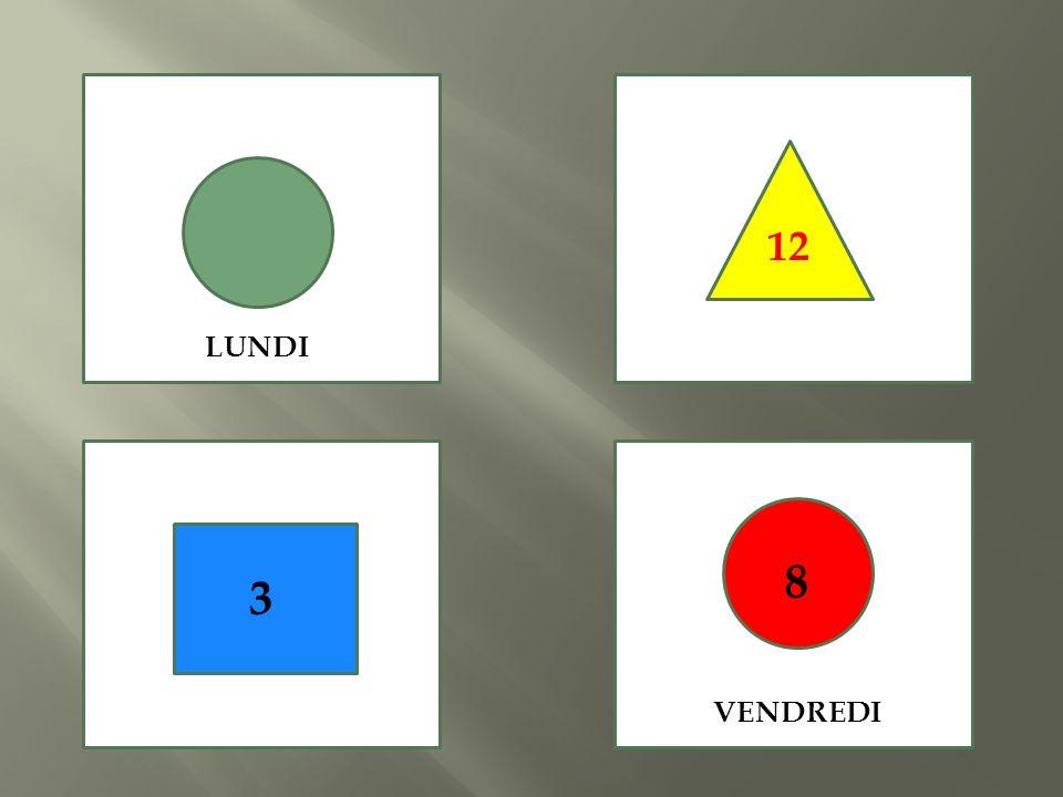 12 LUNDI 8 3 VENDREDI
