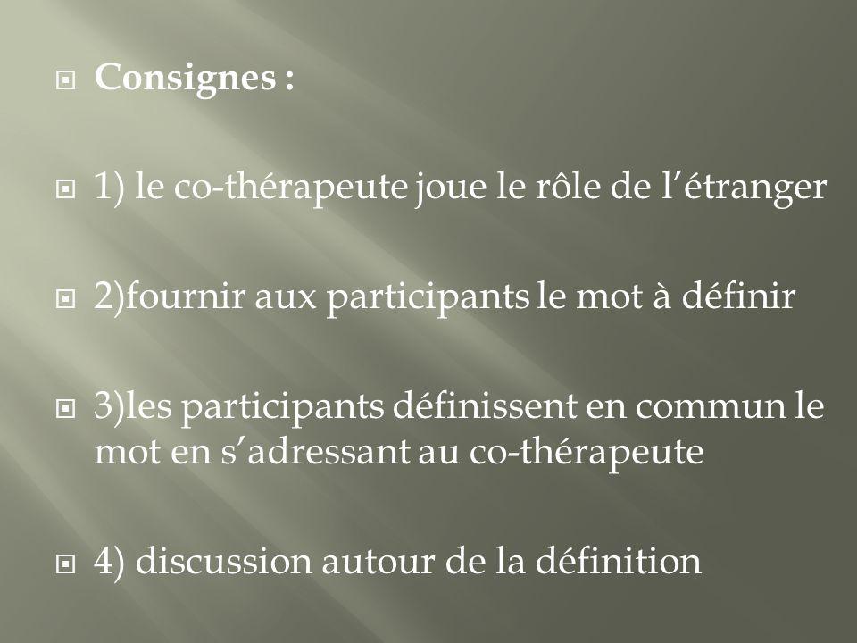 Consignes : 1) le co-thérapeute joue le rôle de l'étranger. 2)fournir aux participants le mot à définir.