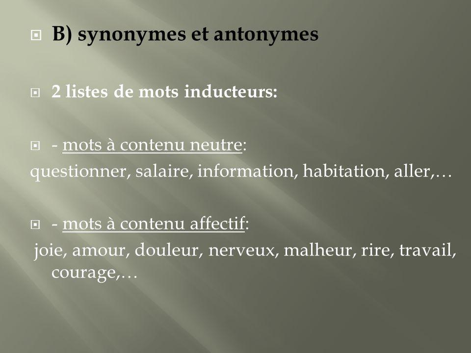 B) synonymes et antonymes