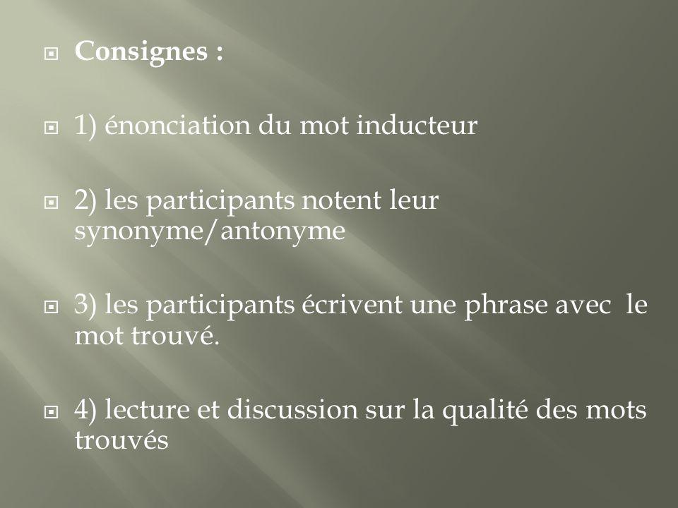 Consignes : 1) énonciation du mot inducteur. 2) les participants notent leur synonyme/antonyme.