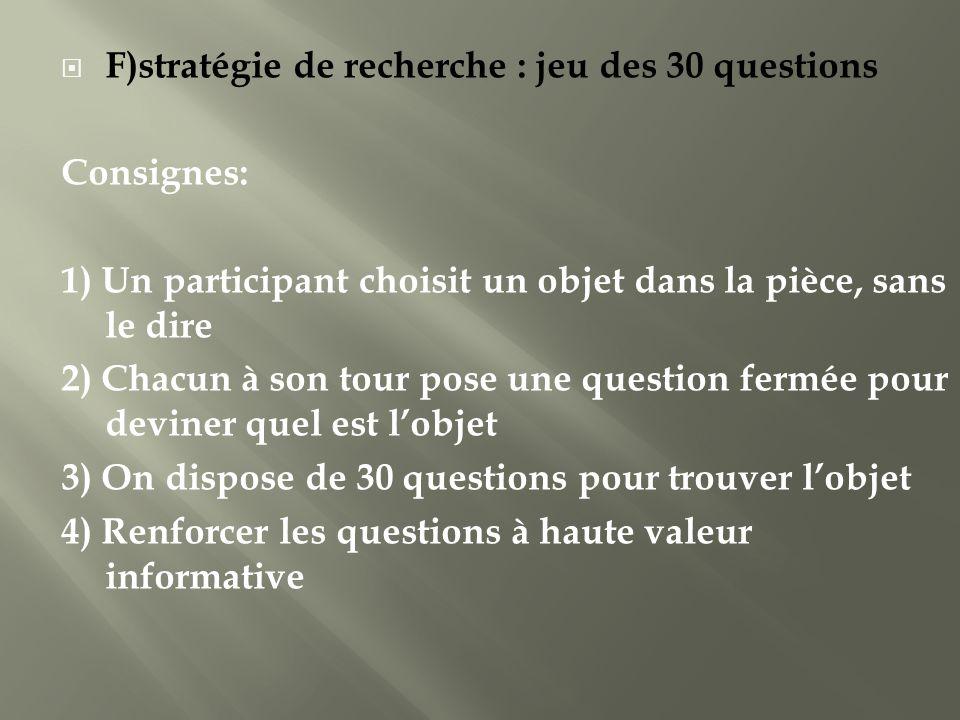 F)stratégie de recherche : jeu des 30 questions