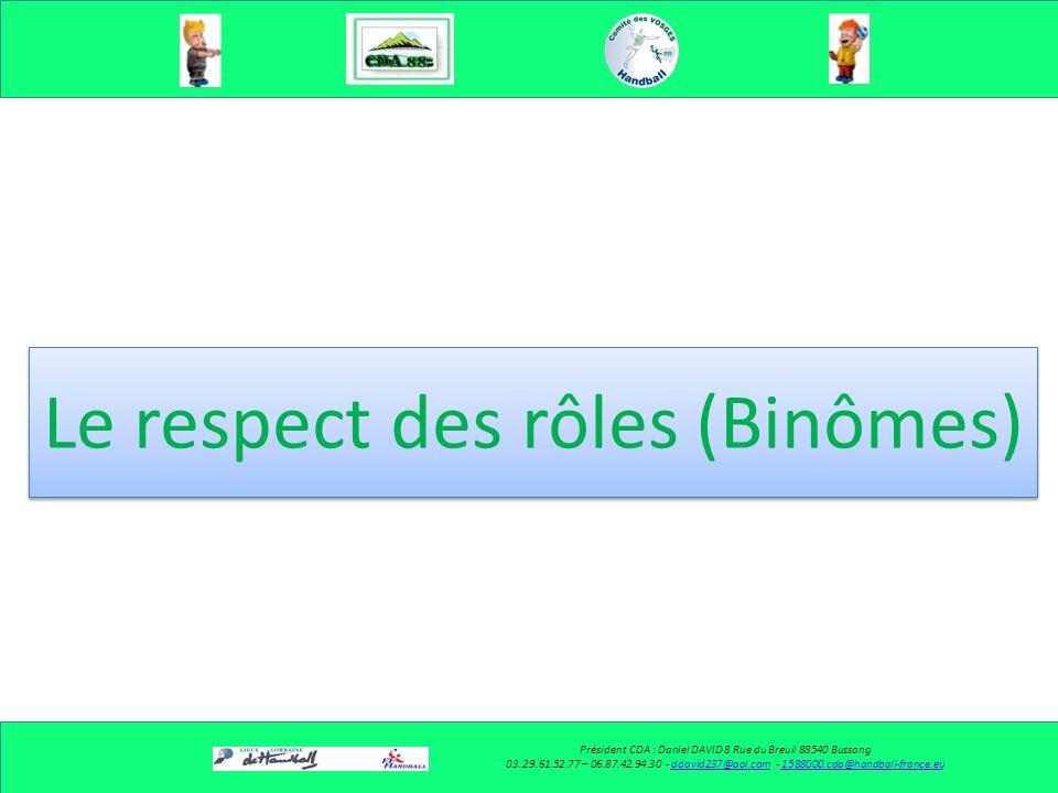 Le respect des rôles (Binômes)