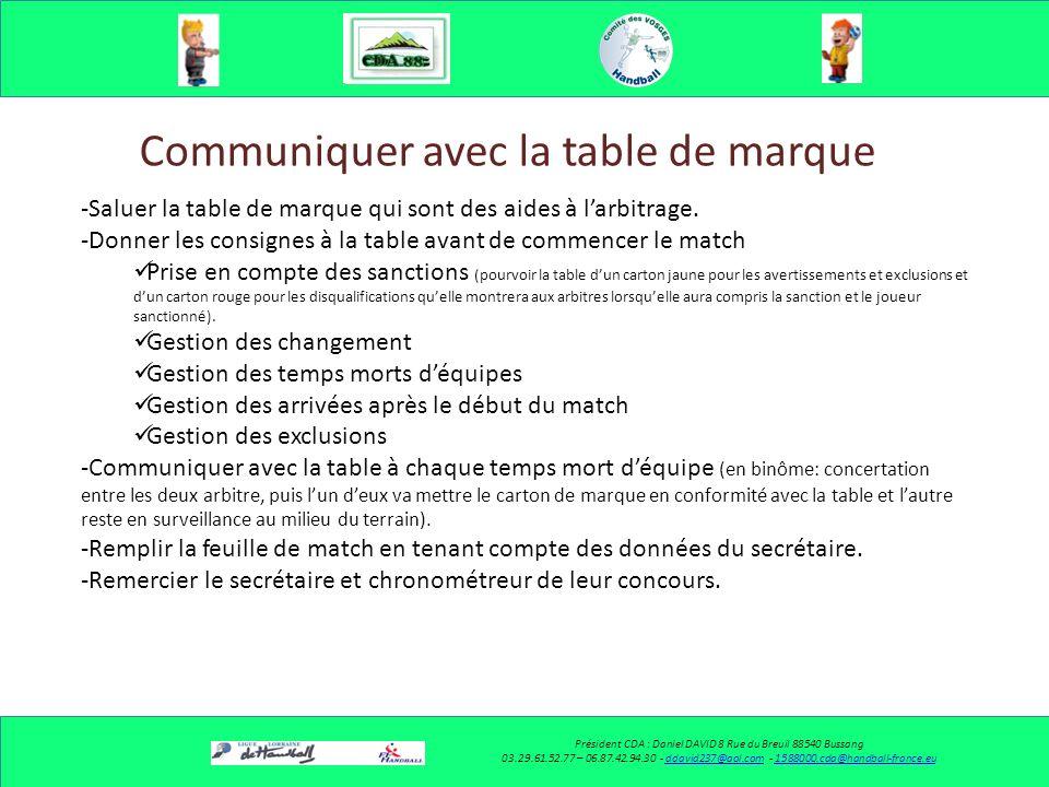Communiquer avec la table de marque