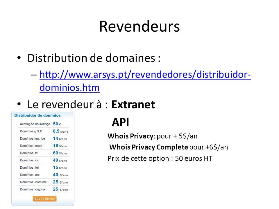 Revendeurs Distribution de domaines : Le revendeur à : Extranet API