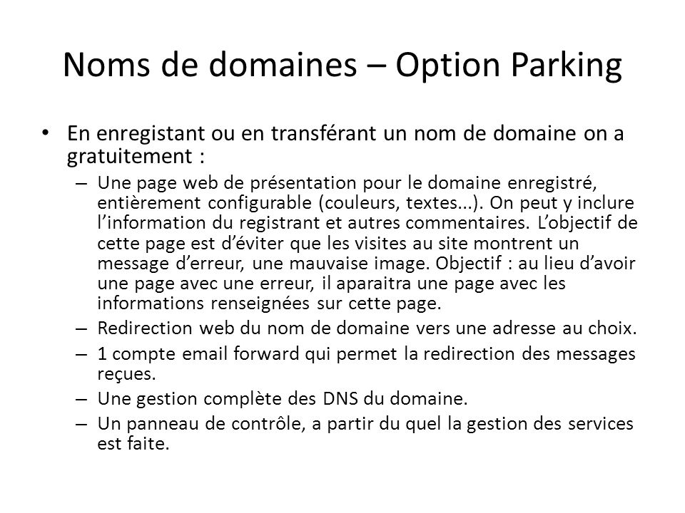 Noms de domaines – Option Parking