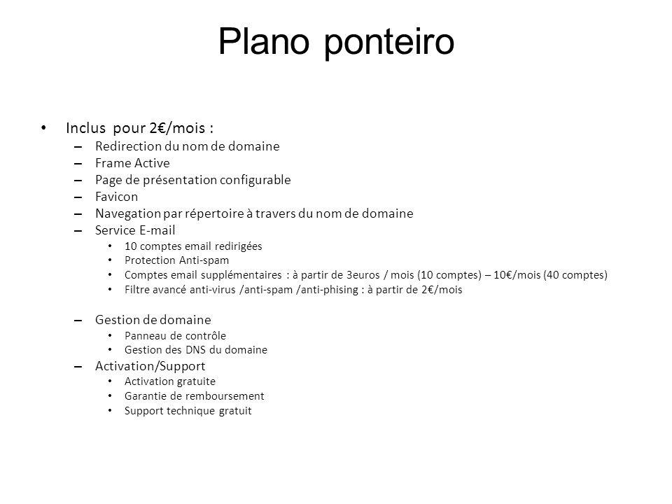 Plano ponteiro Inclus pour 2€/mois : Redirection du nom de domaine