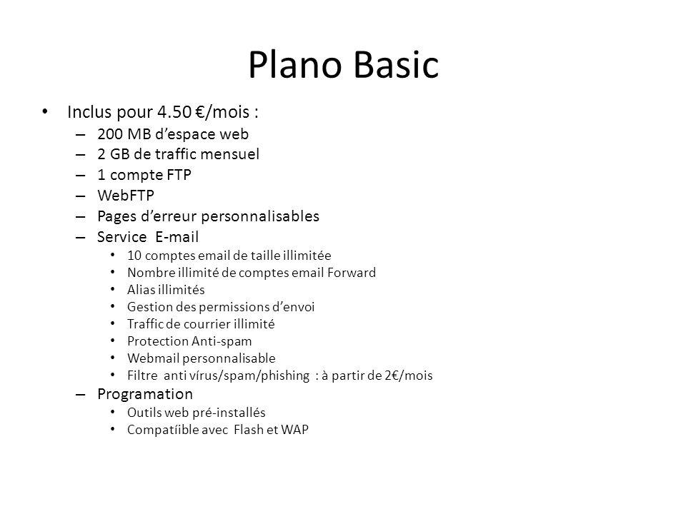 Plano Basic Inclus pour 4.50 €/mois : 200 MB d'espace web