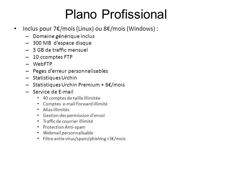 Plano Profissional Inclus pour 7€/mois (Linux) ou 8€/mois (Windows) :