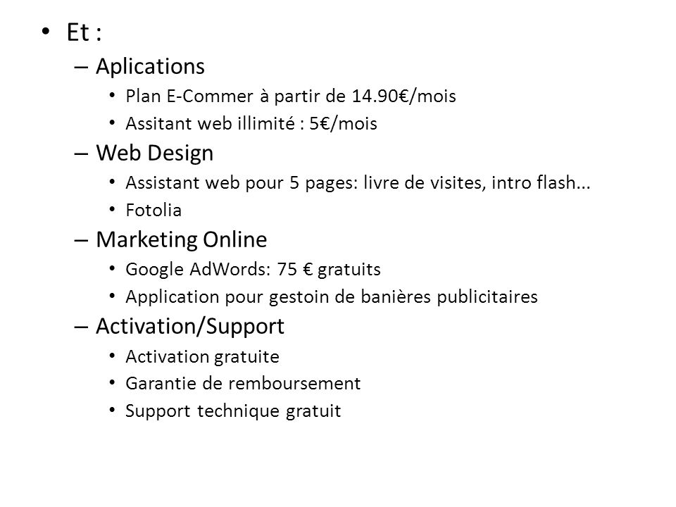 Et : Aplications Web Design Marketing Online Activation/Support