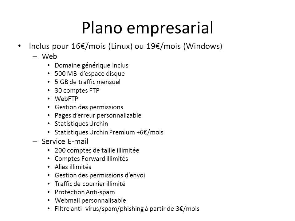 Plano empresarial Inclus pour 16€/mois (Linux) ou 19€/mois (Windows)