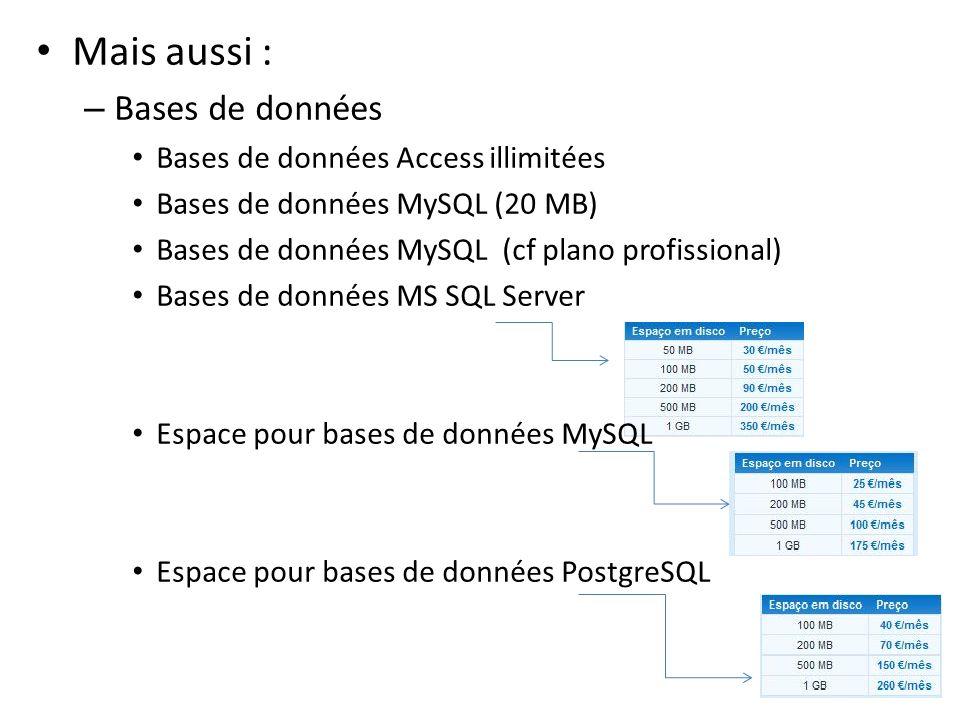 Mais aussi : Bases de données Bases de données Access illimitées