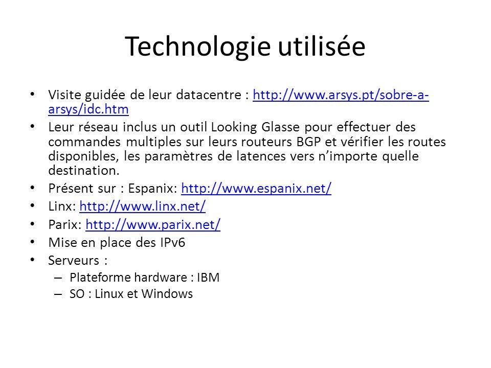 Technologie utilisée Visite guidée de leur datacentre : http://www.arsys.pt/sobre-a-arsys/idc.htm.