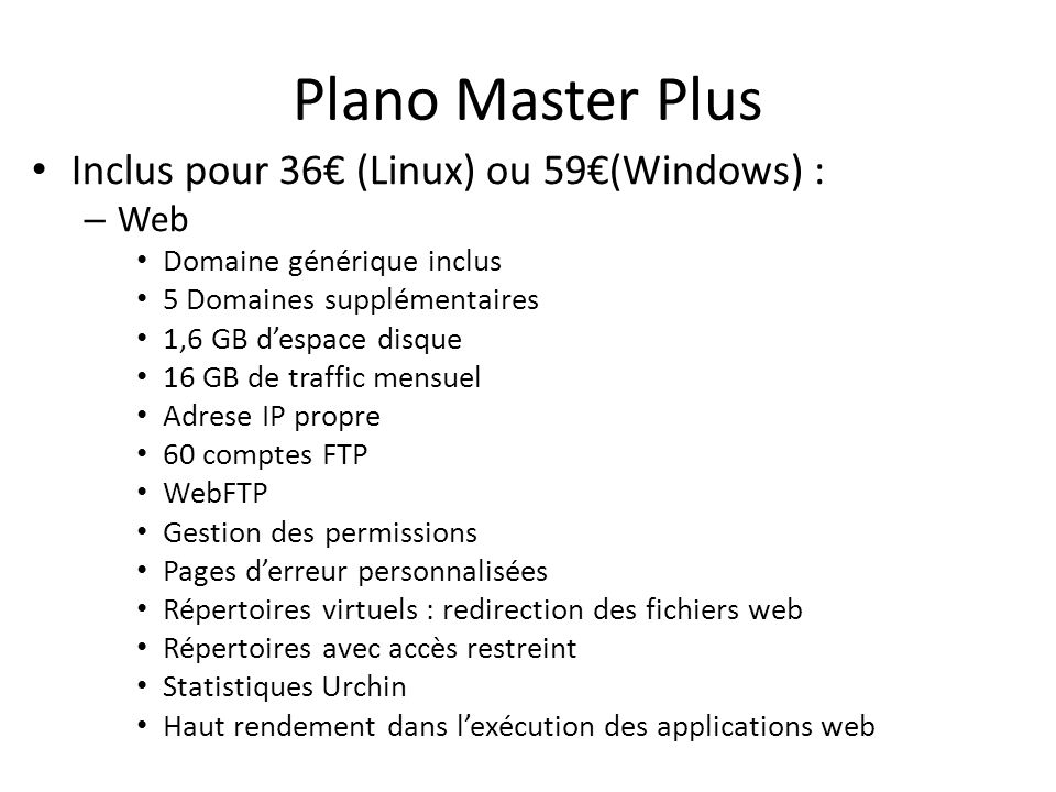 Plano Master Plus Inclus pour 36€ (Linux) ou 59€(Windows) : Web