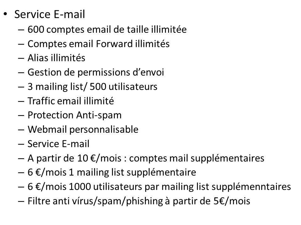Service E-mail 600 comptes email de taille illimitée