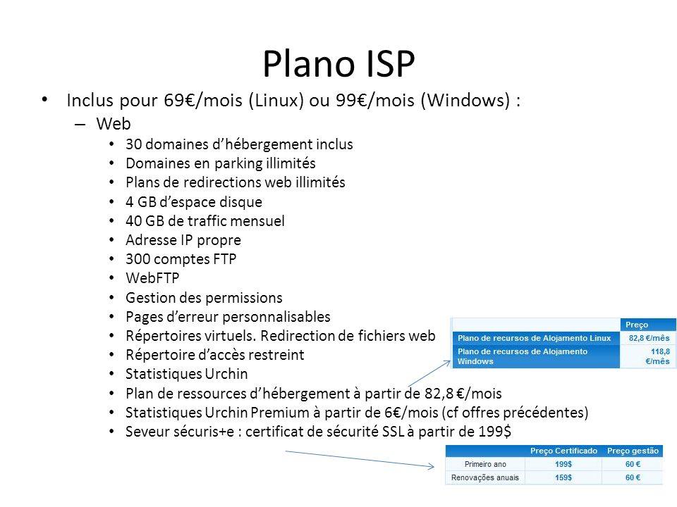Plano ISP Inclus pour 69€/mois (Linux) ou 99€/mois (Windows) : Web