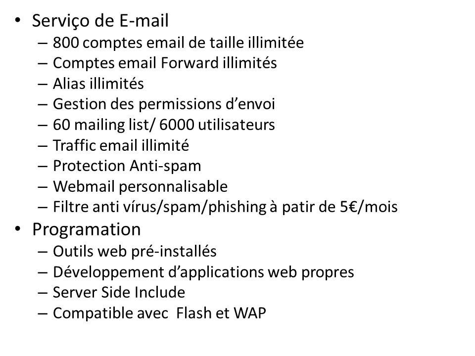 Serviço de E-mail Programation 800 comptes email de taille illimitée