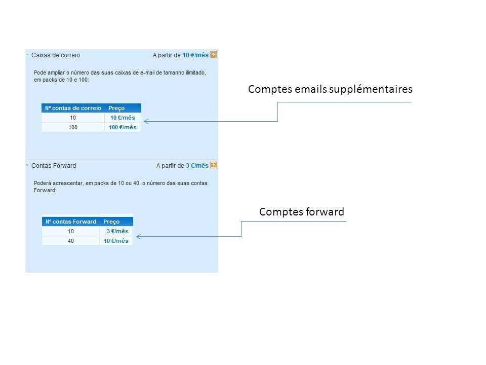 Comptes emails supplémentaires