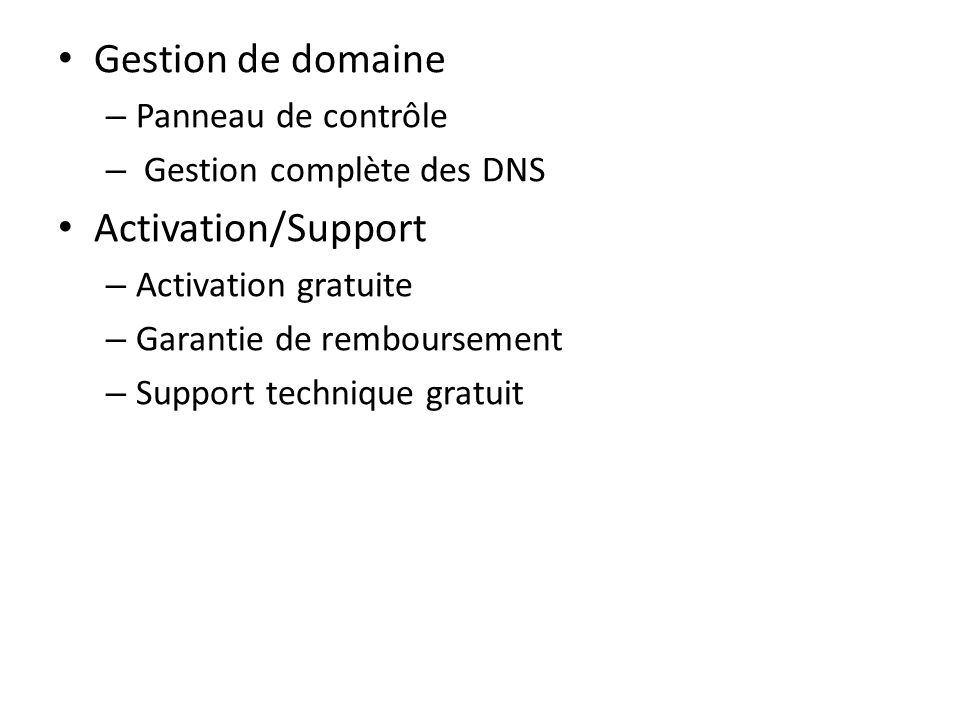 Gestion de domaine Activation/Support Panneau de contrôle