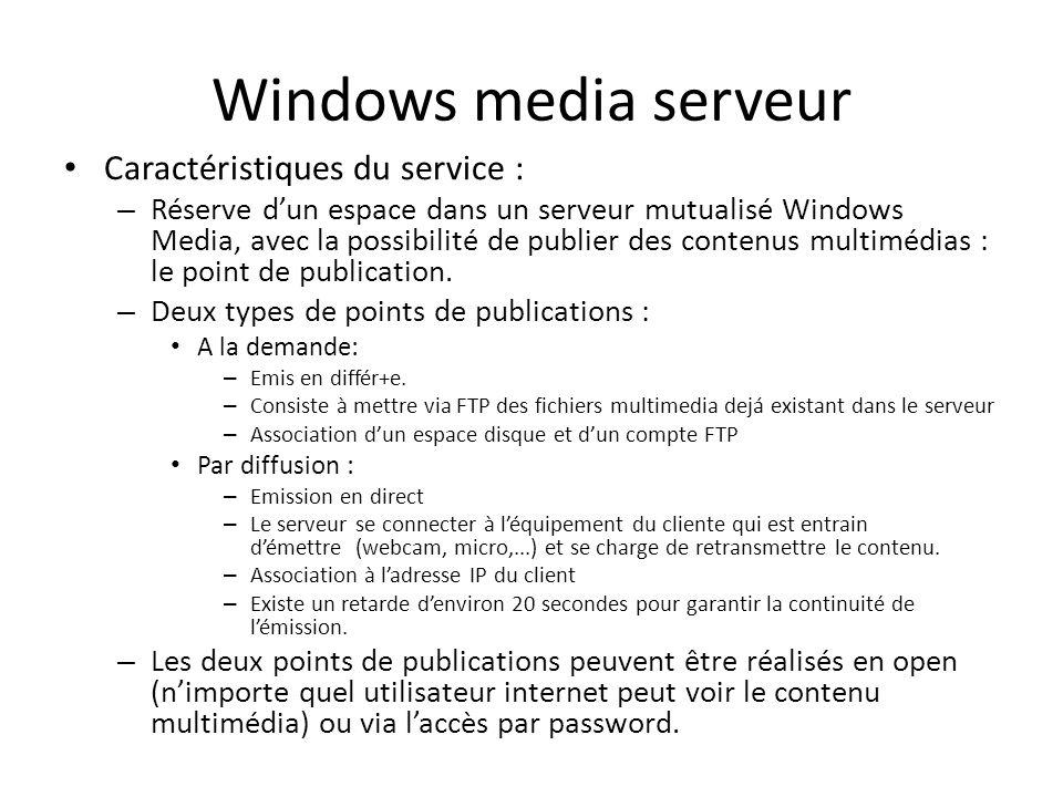 Windows media serveur Caractéristiques du service :