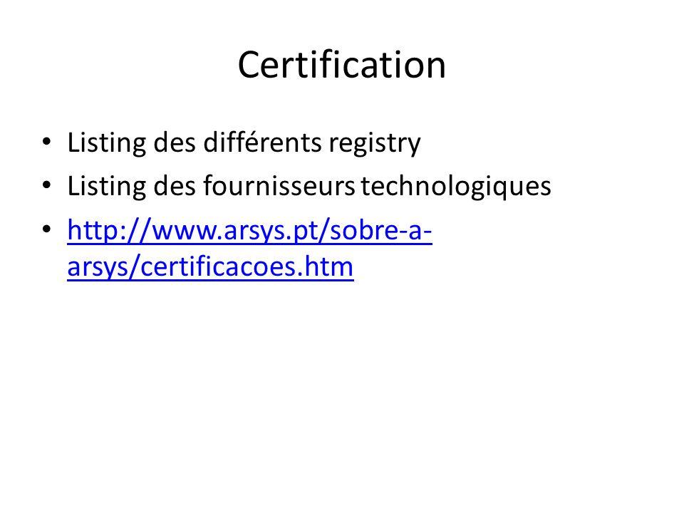 Certification Listing des différents registry