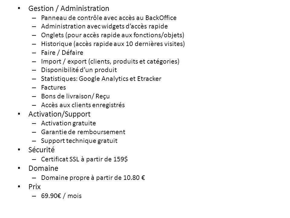 Gestion / Administration
